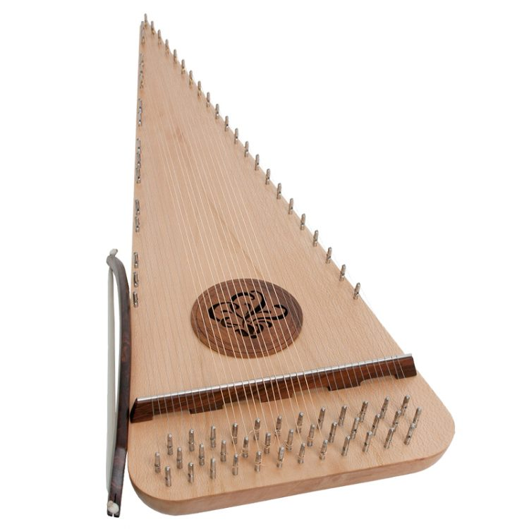 This right-handed roundedBaritone Rounded psaltery has 37 strings, ranging C3 - C6. Constructed with a lacewood soundboard on a body of lacewood