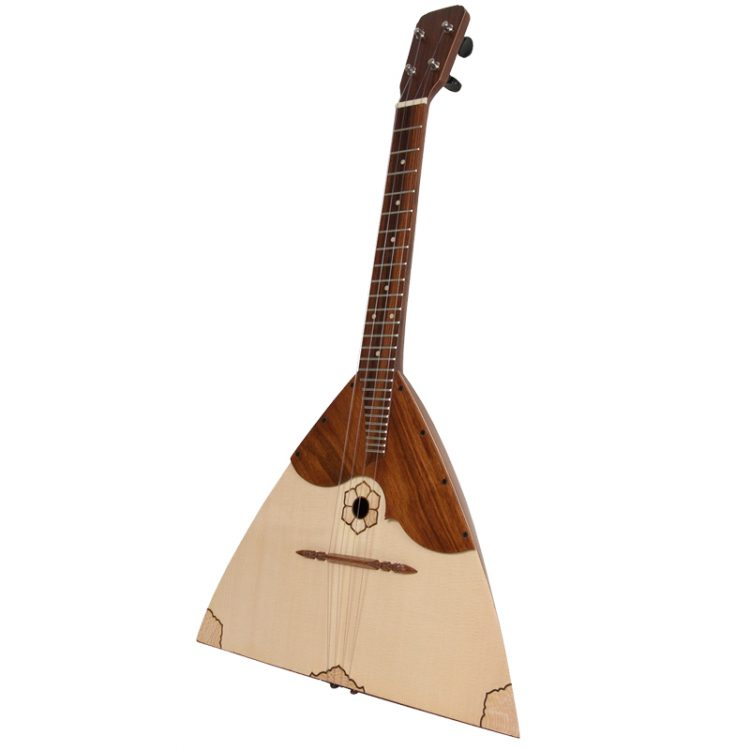 This Deluxe Tenor Balalaika -sized instrument is based upon a 430mm (17 inches) scale. The body has the classical triangular shape. The back is slightly bowed
