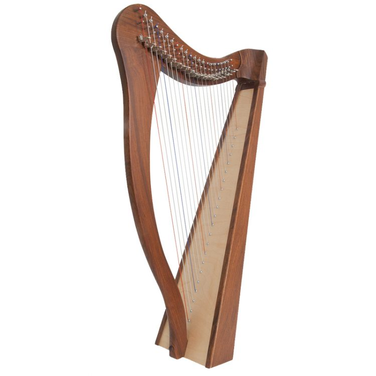 This Heather Harp 22-String Rosewood, features a 5-panel Rosewood back and has 22 DuPont hard nylon strings, a range from C3 to C6, 22 sharpening levers