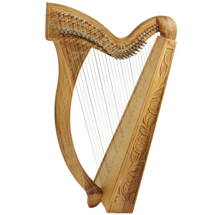 "Harp 29-String Walnut is Approximately 38"" high. Featuring 29 DuPont hard nylon strings, a range from C3 to C7,"