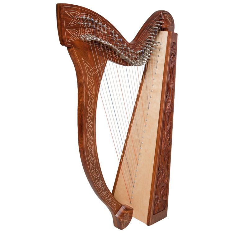 Minstrel Harp 29-String organic vine design hand carved in side panels. Featuring 29 DuPont hard nylon strings, a range from C3 to C7, 24 sharpening levers,