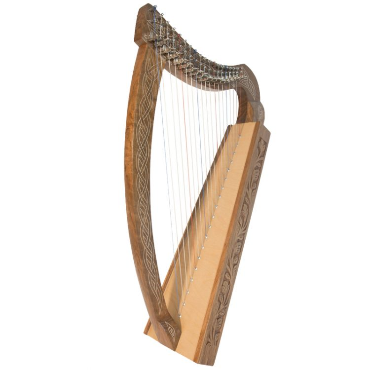 "Pixie Harp 19 Approximately 31"" high. Non-standing design for children. Featuring 19 DuPont hard nylon strings, a range from F below Middle C to High C,"