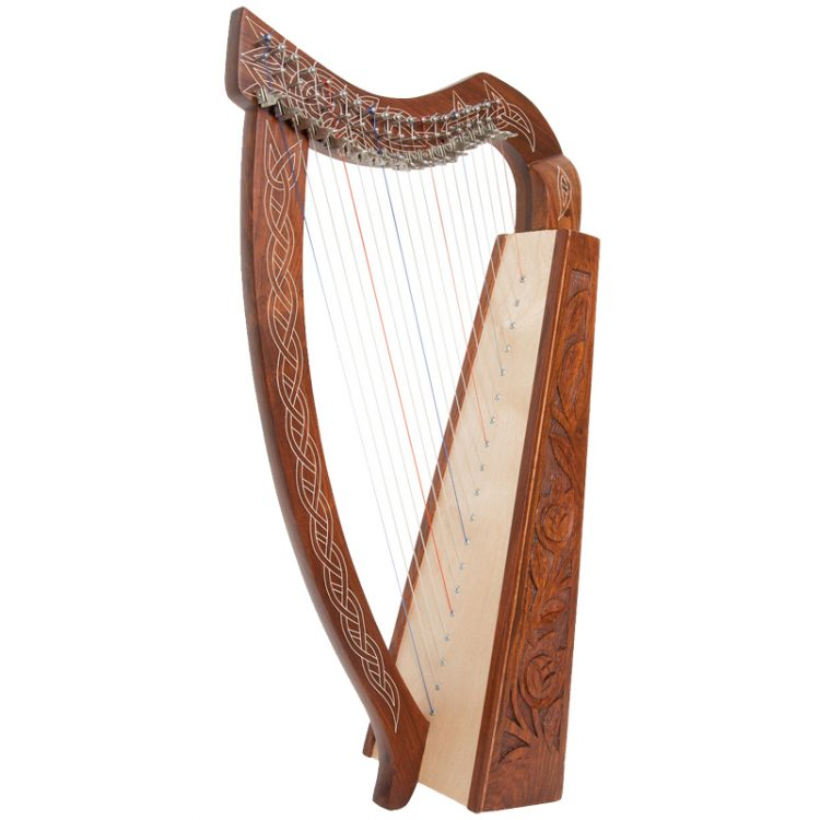 "The Pixie Harp 19-String DuPont hard nylon strings that range from F below Middle C to High C, and it has 19 sharpening levers. It is approximately 30"" high"