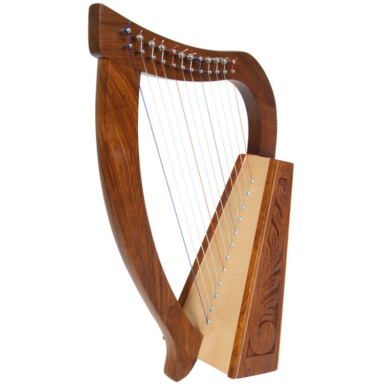 Baby Harp TM, 12 Strings.  This functioning harp has an engraved Rosewood frame with a birch soundboard. Featuring 12 DuPont hard nylon strings