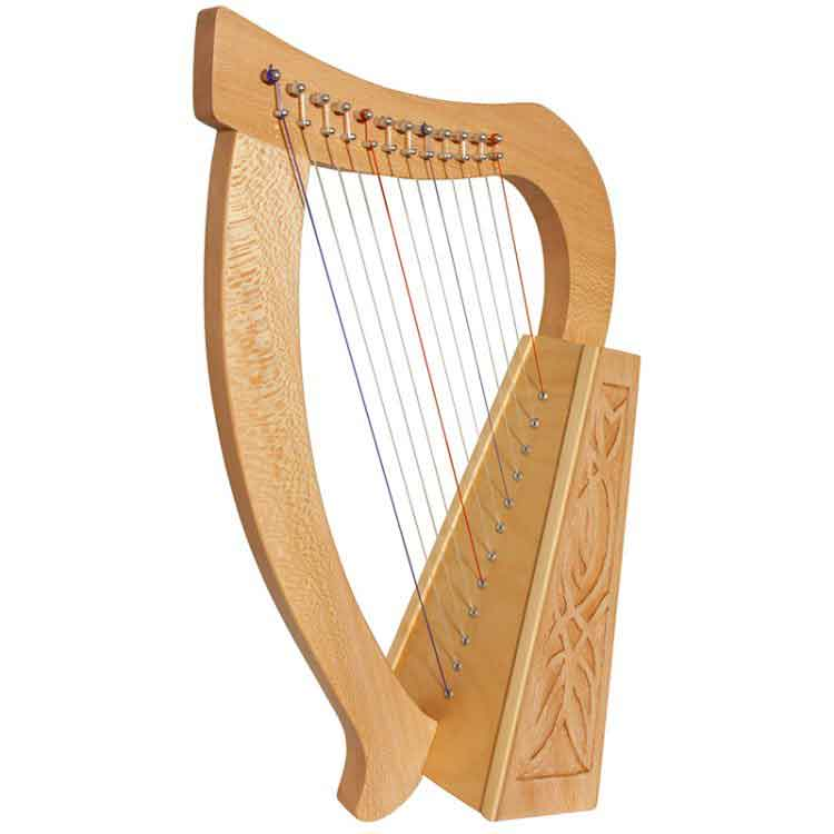 """Baby Harp 12 String and knotwork designs. Approximately 21"""" high. Featuring 12 DuPont hard nylon strings, a range from F above Middle C to High C"""