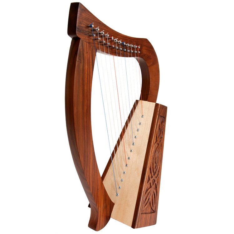 "Baby Harp  12-String and knotwork designs.  Approximately 21"" high. Featuring 12 DuPont hard nylon strings, a range from F above Middle C to High C"