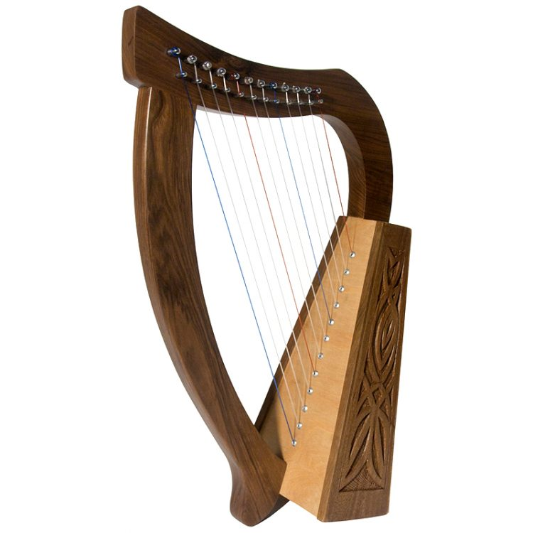 "This baby harp 12 string knotwork is Approximately 21"" high. Featuring 12 DuPont hard nylon strings, a range from F above Middle C to High C"