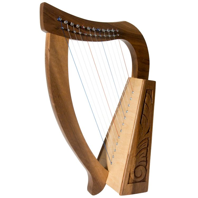 Baby Walnut Harp TM, 12 Strings (Item Code: HPBYW) This functioning harp has an engraved walnut frame with a birch soundboard