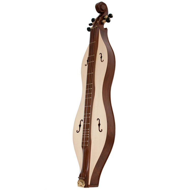 This Deluxe model offers the best features from the Emma Mountain Dulcimer  5 string line! The vaulted fret board and the completely spruce soundboard