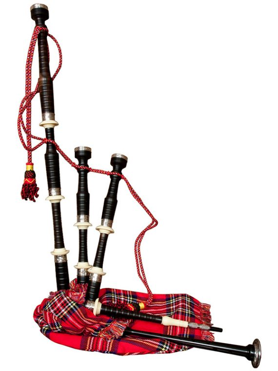 FULL SIZE EBONY BAGPIPE WITH RED TARTAN COVER