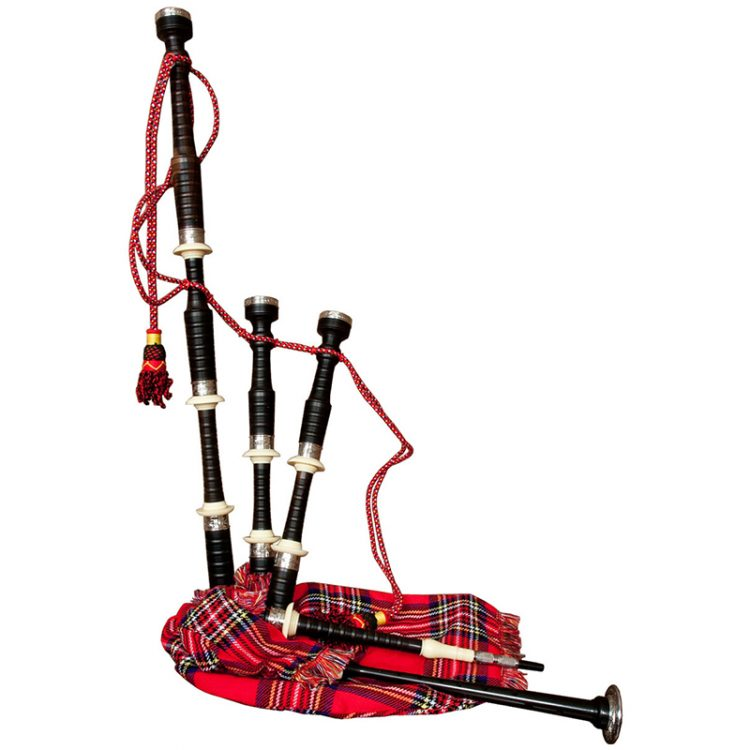 Royal Stewart Tartan cover with Ebony bagpipe Rexine bag, engraved ferrules and sole with imitation ivory mounts. Therefore This Roosebeck Bagpipe set has a Rexine bag
