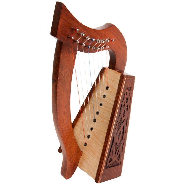 "8-String Lily Harp with Knotwork carvings. Approximately 15"" high. Featuring 8 DuPont hard nylon strings, a range from C above Middle C to H"