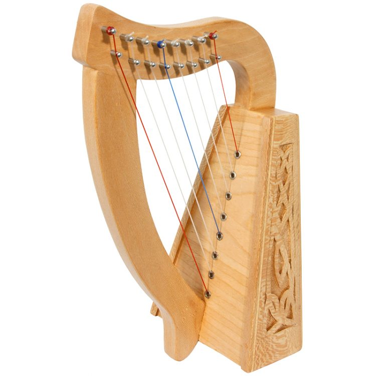 "8-String Lily Harp lacewood with Knotwork carvings. Approximately 15"" high. Featuring 8 DuPont hard nylon strings, a range from C above Middle C to High C"
