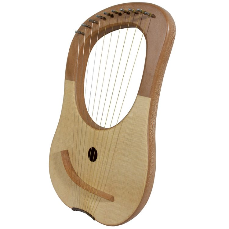 The solid lyre harp 10 string lacewood body lends itself to the soft gentle curves of this ten string lyre. The ten metal strings provide a classical sound