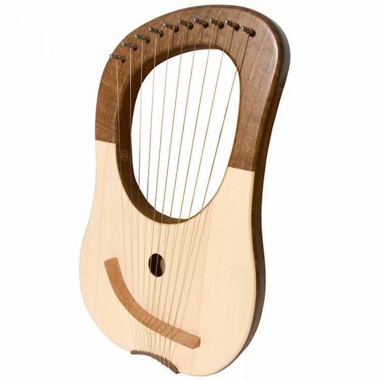 10 string Lyre Harp. The solid walnut body lends itself to the soft gentle curves of this ten string lyre. The ten metal strings provide a classical sound
