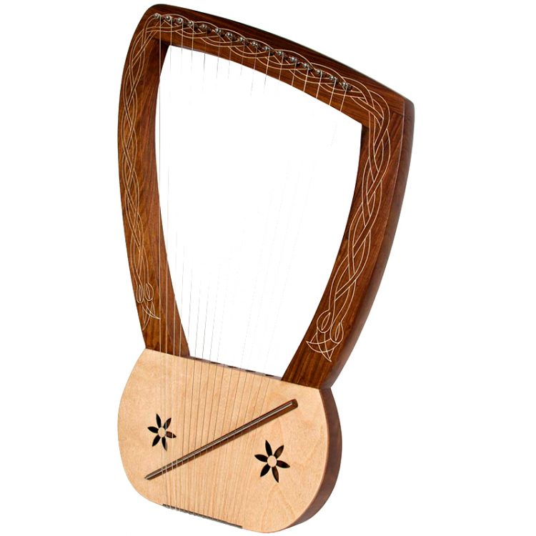 This lyre harp 16 string has 16 metal strings that are each 25 inches. Features inlaid arms and stars carved on the soundboard that add to the beauty