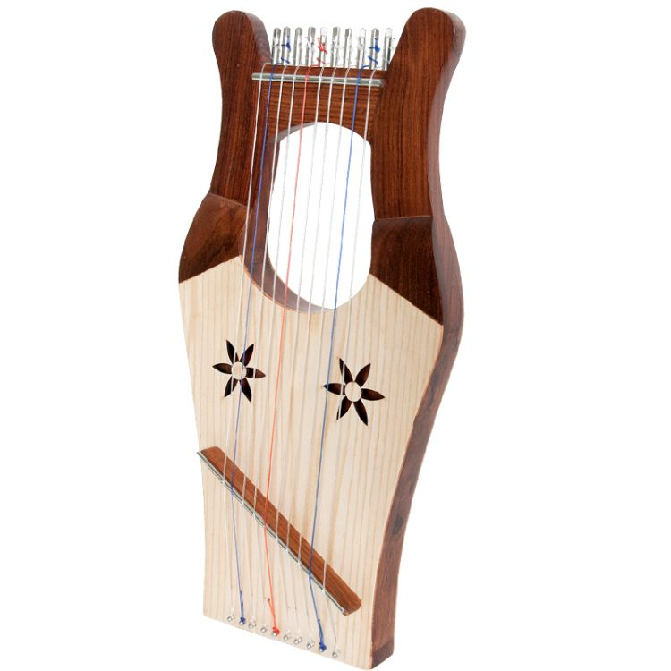 "Mini Kinnor Harp Light 16""x8"", Rosewood frame with ash soundboard. 10 nylon strings for the biblical scale"