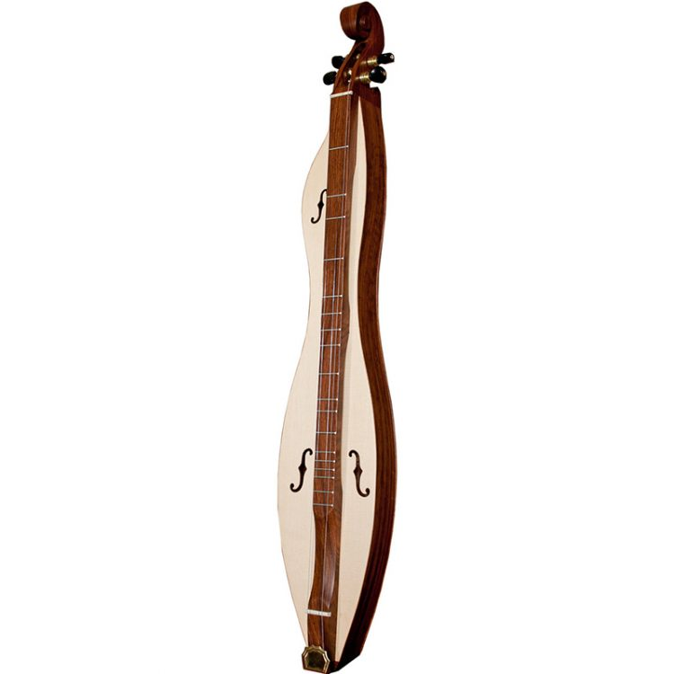 MOUNTAIN DULCIMER 4-STRING CUTAWAY UPPER BOUT F-HOLES SCROLLED PEGBOX ROSEWOOD