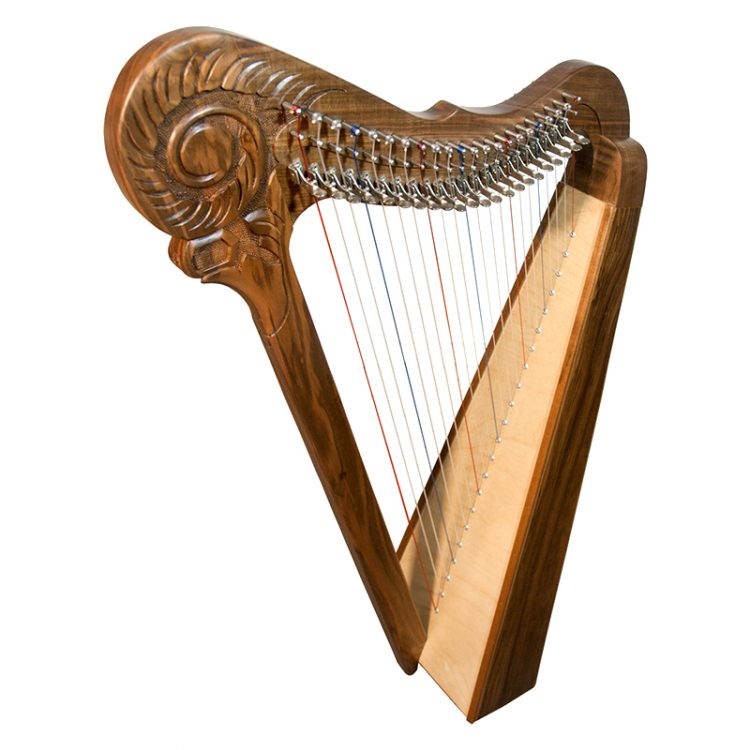 22 string Parisian Harp. This is a stylishly designed harp, in solid walnut with a spruce soundboard. There are 22 DuPont Nylon strings with full levers