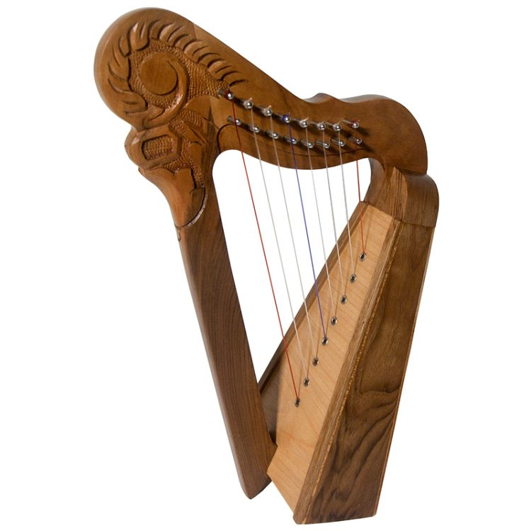 8 string Parisian walnut Harp. This is a functional harp, but has a design to be decorative. This has a stylish design in solid walnut with a spruce soundboard.