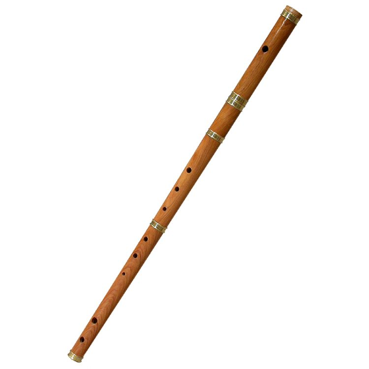 This satinwood irish flute is in the key of D.  It is tuned to the traditional Irish scale, the F# is flat, the A is sharp