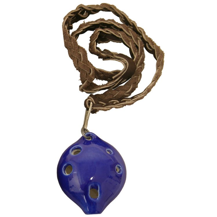 "Blue glazed clay, six finger holes, over an octave of tones, leather braided necklace included. 3"" length, 1.5"" width, and 1.25"" depth"