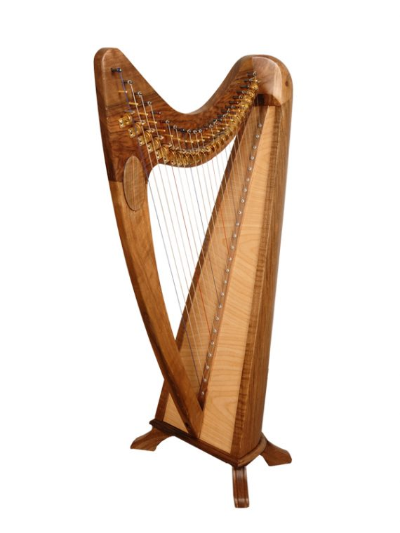 24 String Round Back Harp Walnut