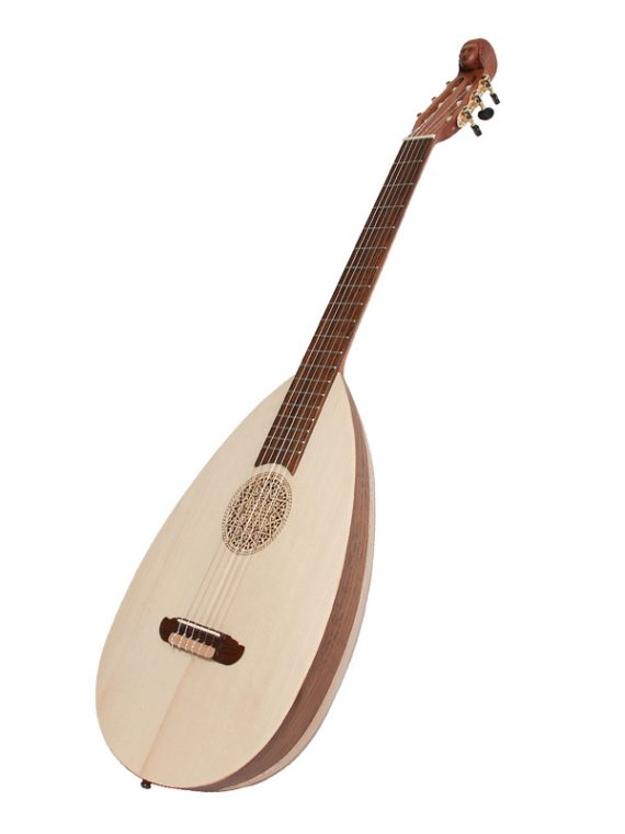 LUTE-GUITAR, 6 STRING, VARIEGATED ROSEWOOD LACEWOOD, GEARS