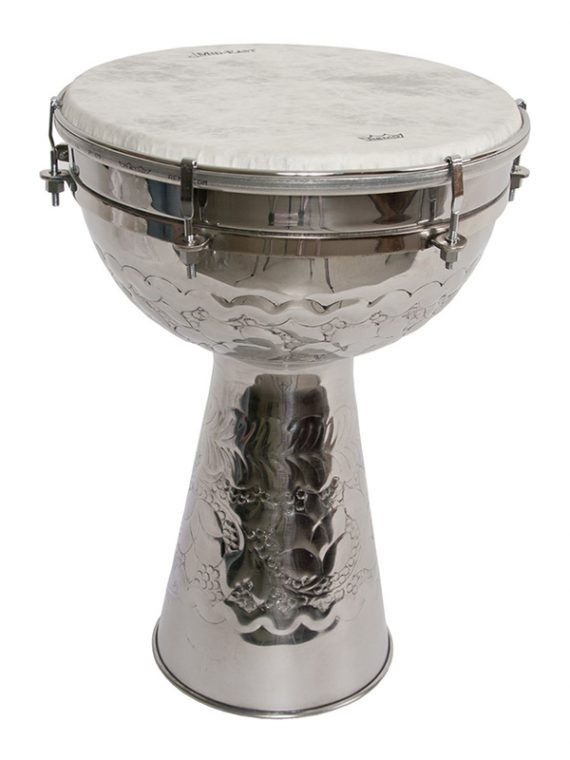 METAL DOUMBEK WITH FIBERSKYN HEAD 10-BY-15-INCH