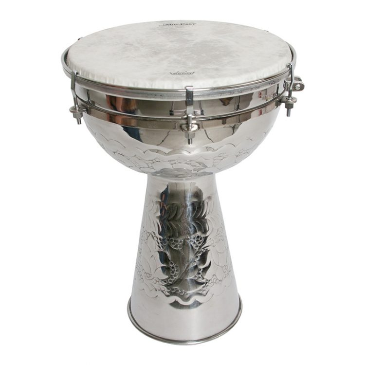 METAL DOUMBEK WITH FIBERSKYN HEAD AND INTERNAL JINGLES 10-BY-16-INCH