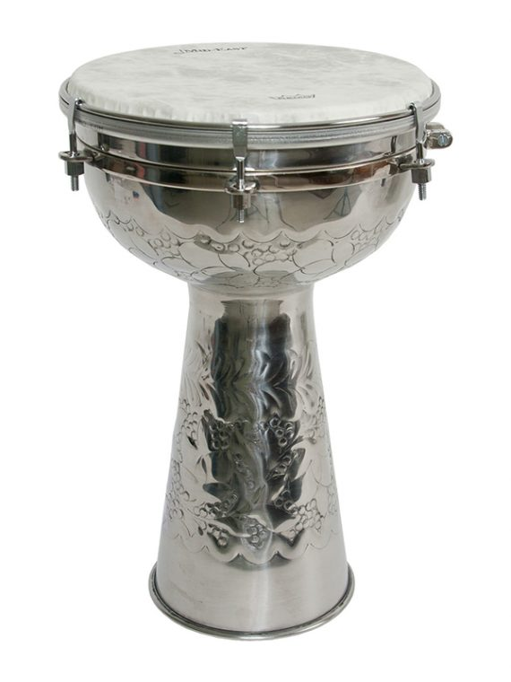 METAL DOUMBEK WITH FIBERSKYN HEAD AND INTERNAL JINGLES 8-BY-14-INCH