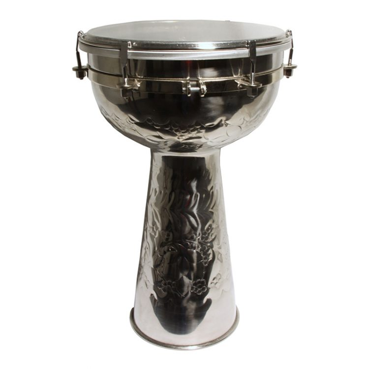 METAL DOUMBEK WITH SYNTHETIC HEAD AND INTERNAL JINGLES 8-BY-14-INCH