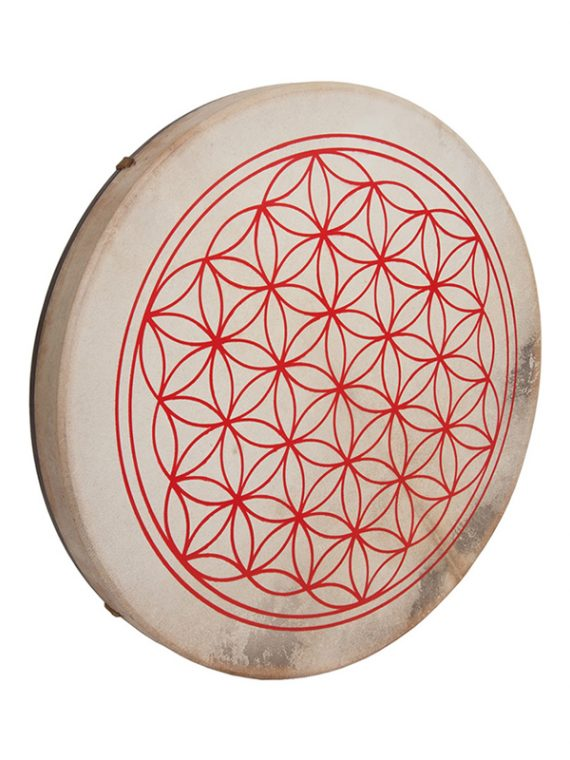 PRETUNED GOATSKIN HEAD WOOD FRAME DRUM 18-BY-2-INCH CIRCLE OF LIFE