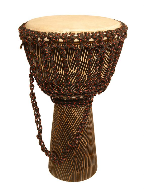 ROPE TUNED ROSEWOOD DJEMBE WITH GOATSKIN HEAD 10-BY-20-INCH – HEWN FINISH