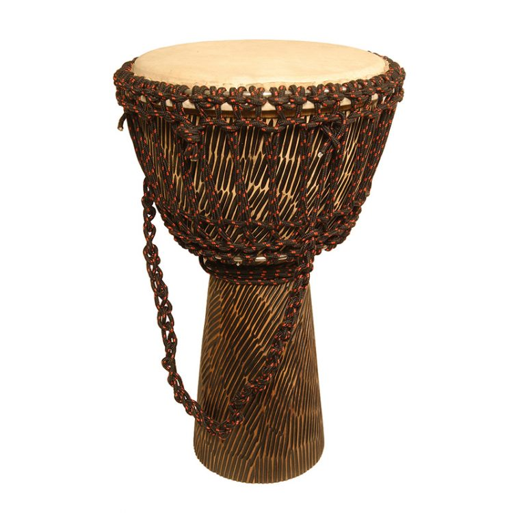 ROPE TUNED ROSEWOOD DJEMBE WITH GOATSKIN HEAD 10-BY-20-INCH - HEWN FINISH