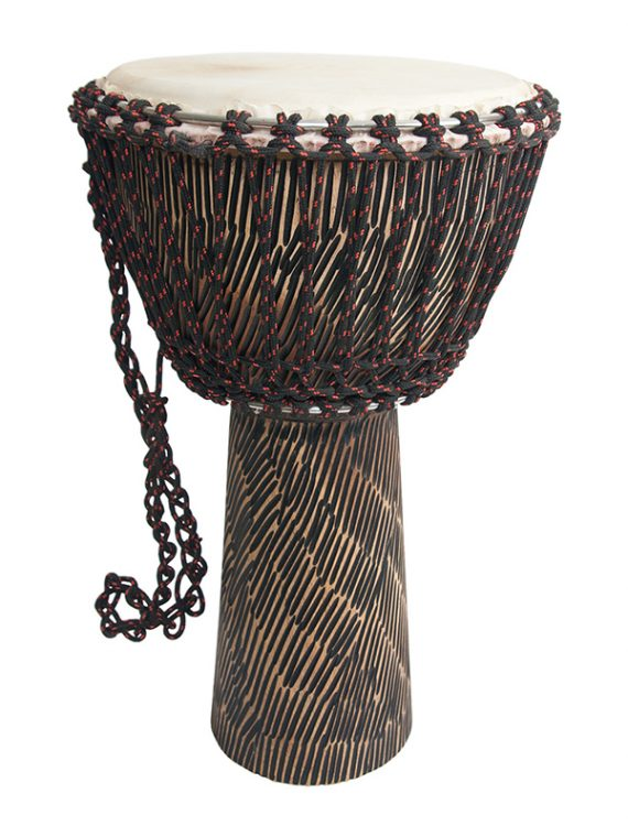 ROPE TUNED ROSEWOOD DJEMBE WITH GOATSKIN HEAD 12-BY-22-INCH – HEWN FINISH
