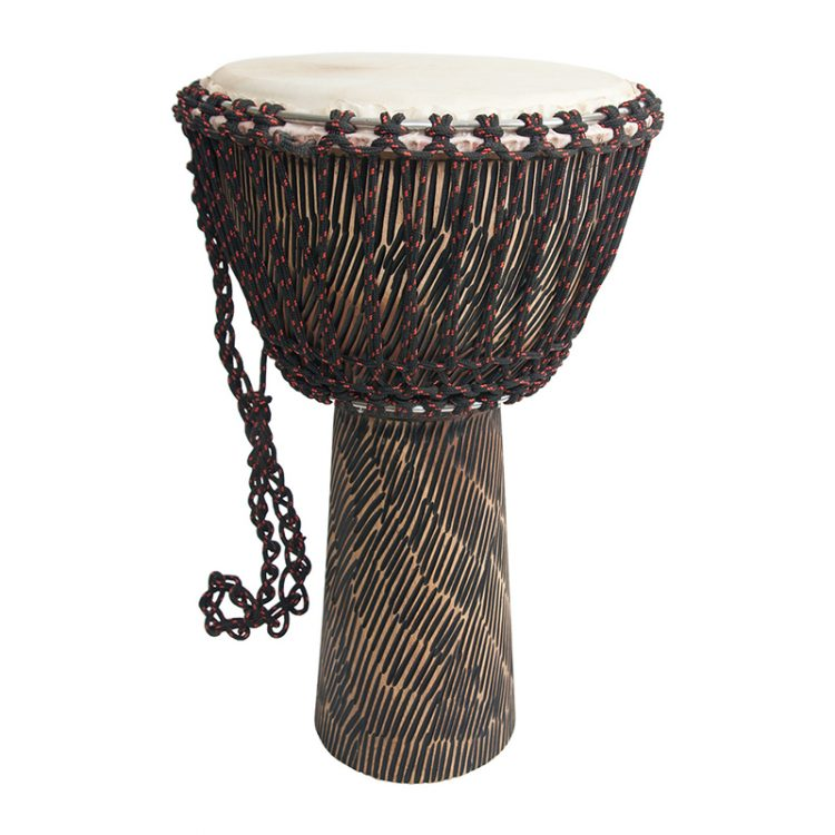 ROPE TUNED ROSEWOOD DJEMBE WITH GOATSKIN HEAD 12-BY-22-INCH - HEWN FINISH